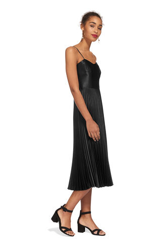 Satin Pleated Dress, in Black on Whistles