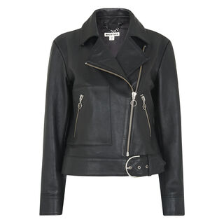 Ring Puller Leather Jacket, in Black on Whistles
