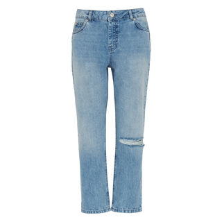 Distressed Straight Jean, in Denim on Whistles