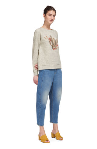 Cactus Embroidered Sweat, in Grey Marl on Whistles