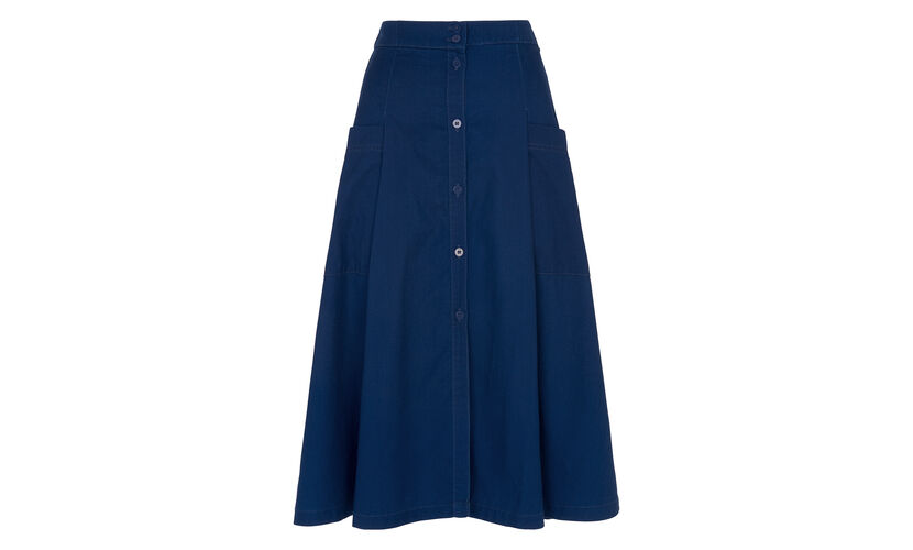 Edin Button Through Skirt, in Denim on Whistles