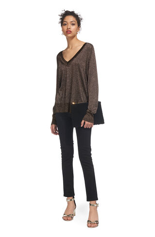 V Neck Sparkle Knit, in Silver on Whistles