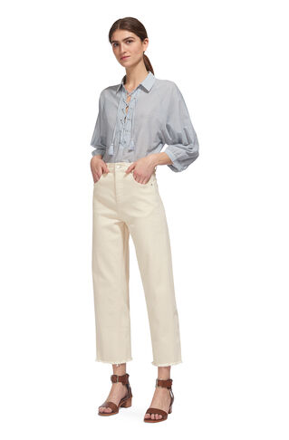 High Waist Barrel Leg Jean, in Oatmeal on Whistles