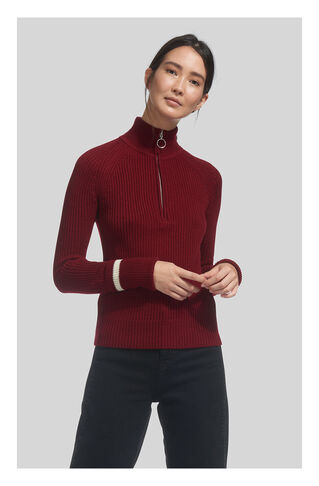 Rib Zip Front Chunky Knit, in Red on Whistles