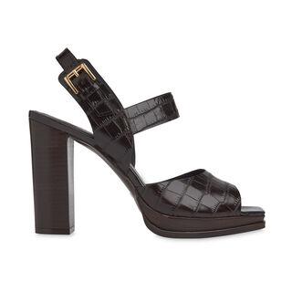 Laxo Croc Platform Sandal, in Brown on Whistles