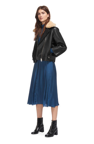 Eliza Wide Sleeve Leather, in Black on Whistles
