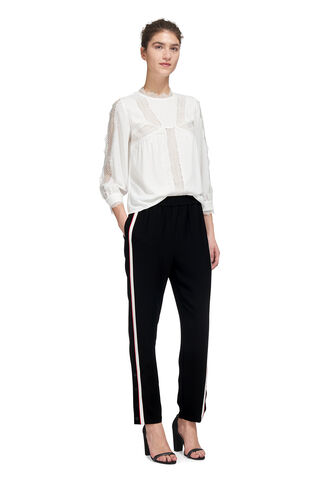 Popper Side Stripe Trouser, in Black on Whistles