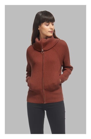 Zip Front Funnel Neck Cardigan, in Neutral on Whistles
