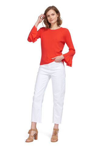 Frill Wide Sleeve Knit, in Coral on Whistles