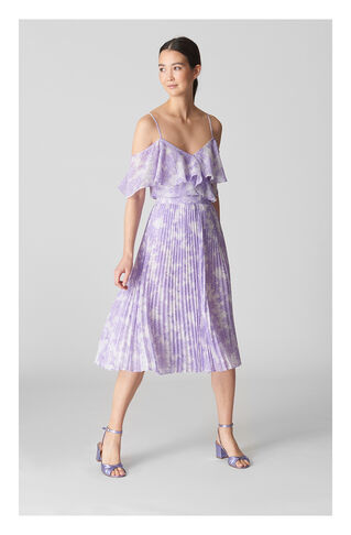 Batik Lily Print Pleated Skirt, in Lilac on Whistles