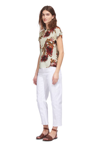 Cactus Print Silk Top, in Cream/Multi on Whistles