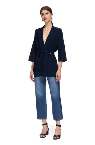 Kimono Sleeve Jacket, in Navy on Whistles