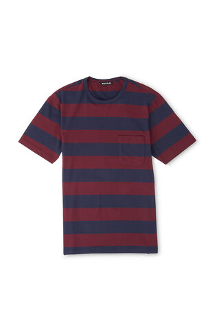 Block Striped T-Shirt, in Burgundy on Whistles