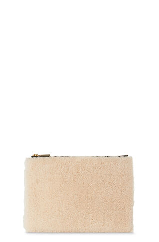 Cream Shearling Medium Clutch, in Cream/Multi on Whistles