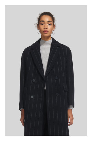 Stripe Double Breasted Coat, in Navy on Whistles