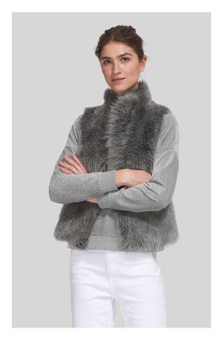 Short Sheepskin Gilet, in Grey on Whistles