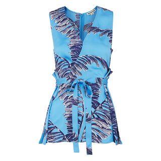 Honu Bamboo Print Wrap Top, in Blue on Whistles