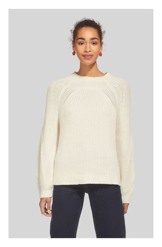 Chunky Rib Blouson Knit, in Ivory on Whistles