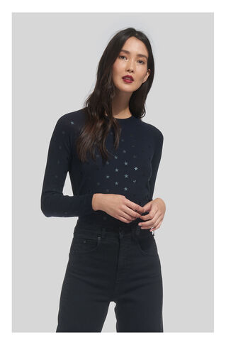 Star Printed Crew Neck, in Navy on Whistles