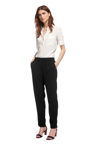 Elyse Crepe Trouser, in Black on Whistles