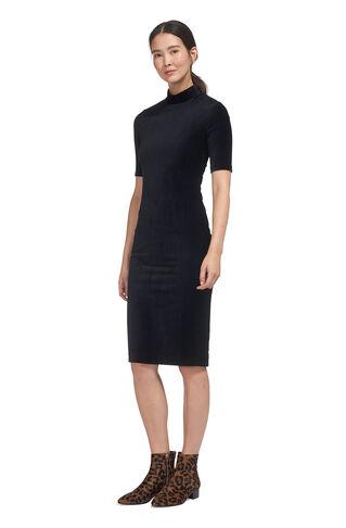 Velvet High Neck Jersey Dress, in Navy on Whistles