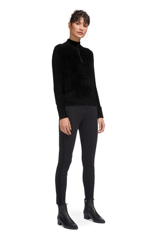 Zip Front Chenille Knit, in Black on Whistles