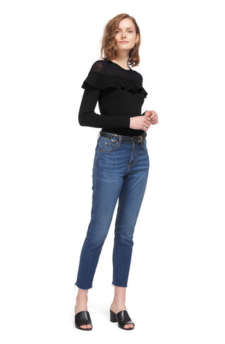 Crop Frill Yoke Sweater, in Black on Whistles