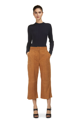 Colbert Suede Leather Trousers, in Tan on Whistles