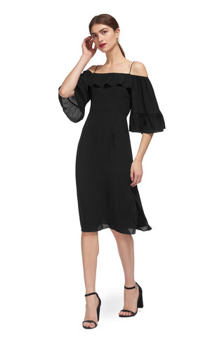 Off Shoulder Frill Dress, in Black on Whistles