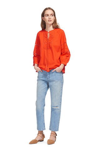 Resort Bethany Cutwork Top, in Orange on Whistles