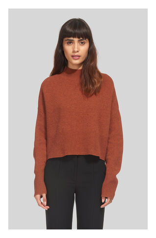 Cropped Funnel Neck Knit, in Rust on Whistles