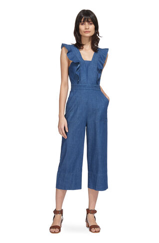 Sigrid Ruffle Jumpsuit, in Denim on Whistles