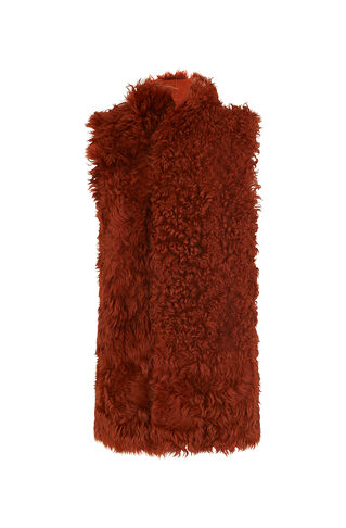 Curly Sheepskin Gilet, in Brown on Whistles