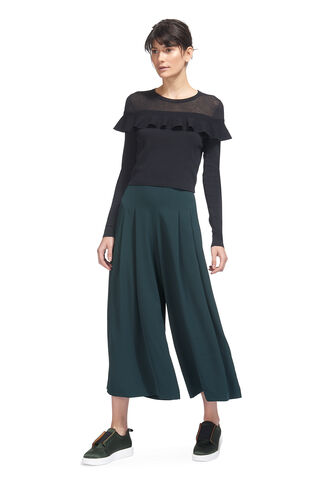 Pleated Wide Leg Trouser, in Dark Green on Whistles