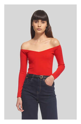 Long Sleeve V Bardot Top, in Red on Whistles