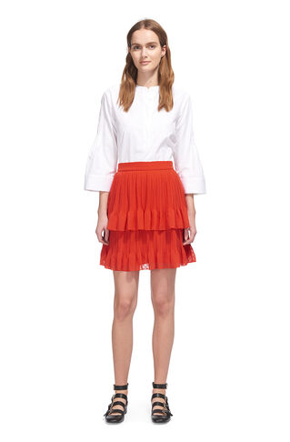 Ellie Dobbi Tiered Skirt, in Red on Whistles
