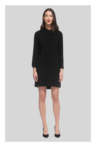 Scalloped Collar Crepe Dress, in Black on Whistles