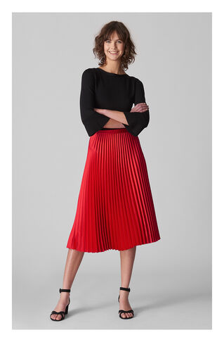 Satin Pleated Skirt, in Red on Whistles