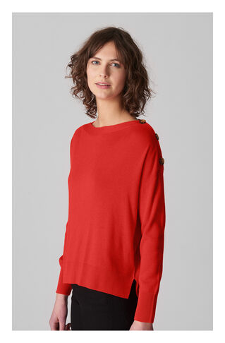 Side Button Relaxed Knit, in Red on Whistles
