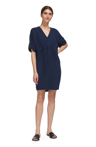 Frances Gathered Dress, in Navy on Whistles