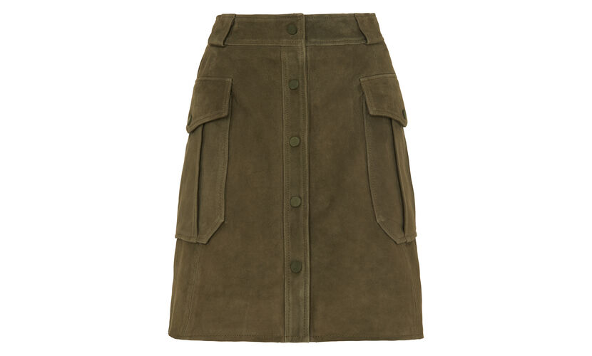 Suede Pocket Skirt, in Khaki on Whistles