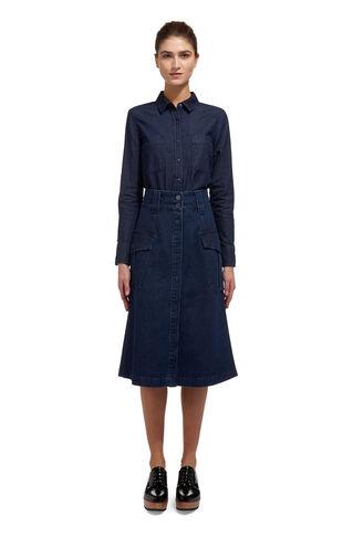 Patch Pocket Denim Skirt, in Denim on Whistles