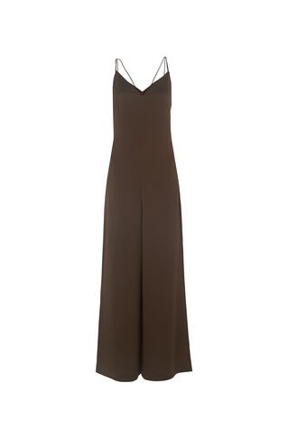 Relaxed Satin Jumpsuit, in Khaki on Whistles