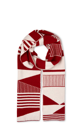Green Thomas Wool Scarf, in Red on Whistles