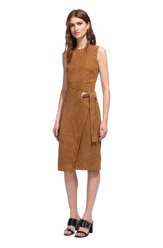 Isla Belted Suede Wrap Dress, in Tan on Whistles