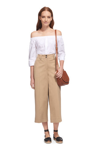 Cotton Wide Leg Trouser, in Beige on Whistles
