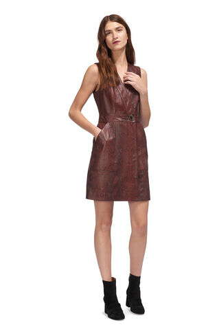 Bryony Wrap Snake Dress, in Burgundy on Whistles