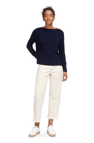 Side Button Relaxed Knit, in Navy on Whistles
