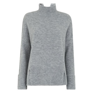 Rib Detail Funnel Neck Knit, in Grey Marl on Whistles