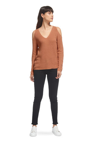 V Neck Cold Shoulder Sweater, in Neutral on Whistles